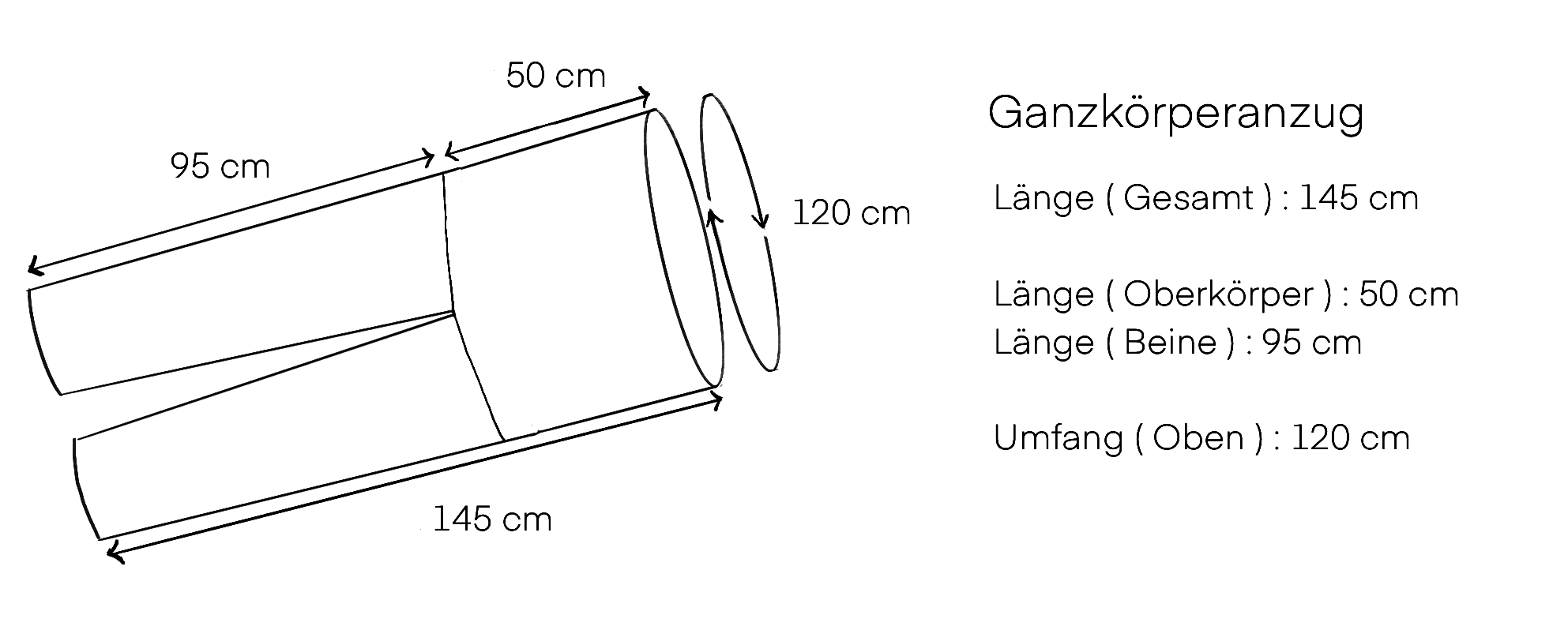 Maße Ganzkörperanzug ( Skizze )